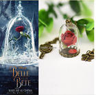2017 Newest Movie Beauty and the Beast Rose Vial Flower Dome Glass Necklace Gift