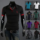 Men's Polo Shirt Plain Casual Tops Short Sleeve Slim Simple Tee Shirts Blouse