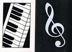 Piano Keyboard or Treble Clef rectangular eraser rubber black or white