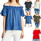 Solid Off-Shoulder Short Sleeve Shirred Loose Fit Top Casual Cotton Rayon S M L