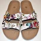 Ladie's Floral Print Buckle Slip On Footbed Flat Sandal