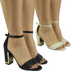New Womens Ladies Summer Ankle Strap Chunky Block Heel Shoes Buckle Sandals Size