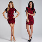 LADIES ELEGANT RED TASSEL SHORT SLEEVE MINI DRESS EVENING GOWN PARTY WEAR 8-14