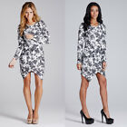 LADIES WOMENS ASYMETRIC HEM CREPE FLORAL BODYCON DRESS FASHION LONG SLEEVE