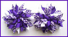 DARK PURPLE WHITE SCHOOL UNIFORM GINGHAM CHECK RIBBON SCHOOL KORKER HAIR BOWS