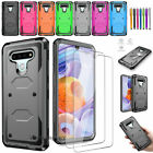 LG G Stylo 2 Plus ARMOR HIGH IMPACT HYBRID PHONE CASE COVER + TEMPERED GLASS