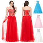 Beaded Corset Women Tulle Formal Long Bridesmaid Cocktail Party Evening Dresses