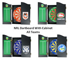 NRL LOGO BRISTLE DARTBOARD & WOODEN CABINET DART BOARD - ALL TEAMS