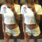 Fashion Women Short Sleeve Cropped Top T-shirt Belly Tops Blouses Shirts Hot