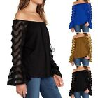 Women Off-Shoulder Tops Blouse Loose Casual Long Sleeve T-shirt Plus Size YAN323