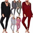 New Womens Ladies Plain Long Sleeve Choker Neck Baggy Easy Loungewear Tracksuit