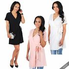 Womens Short Sleeve Wrap Around V Neck Belted Dress Ladies Batwing Tunic