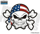 American Flag Skull Crossbones Decal United States USA Gloss Vinyl Sticker HGV
