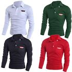 Fashion Mens Long Sleeve Casual Polo Shirt T-shirt Dress Shirts Tee Jumper Tops