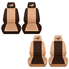 Fits 2015 to 2017 Ford Mustang Tan and Brown Seat Covers with a Horse ABF