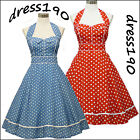 dress190 BLUE or RED HALTER 50's POLKA DOT ROCKABILLY VINTAGE PROM PARTY DRESS