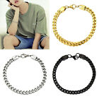 Women Men Jewelry Figaro Box Curb Chain Bracelet Hip Hop Bangle Titanium Steel