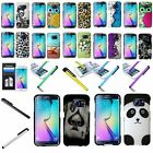For Samsung Galaxy S6 Edge Rubberized Hard Pattern Cover Case+Film+Stylus