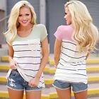 Casual Women's O-Neck Short Sleeve Striped Loose T-shirt Tops Blouse