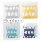 Elephant Cotton Canvas Pillow Sofa Throw White Printed Pillowcase Cushin Cover