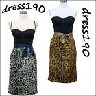 dress190 Clearance Black & Leopard Rockabilly Cocktail Prom Party Dress 14-20