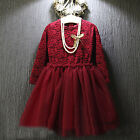Fashion Kids Baby Girls Pageant Wine Long Sleeve Lace Chiffon Weeding Dress 2-7Y