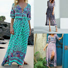 Plus Size S-5XL Women V-Neck Lace Up Boho Floral Beach Long Maxi Dress Sundress
