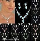Elegant Jewelry Wedding Bridesmaid Prom Formal Rhinestone Crystal Necklace Set