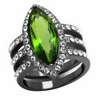 Huge 19x8mm Marquise Peridot CZ 3 Side Rows IP Light Black Stainless Steel Ring