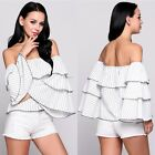 Fashion Womens Summer Off-Shoulder Long Sleeve Casual Blouse Loose Tops T Shirt