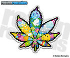 Pot Leaf Psychedelic Peace Decal Weed Marijuana Hippie Gloss Vinyl Sticker WRS