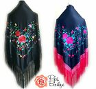 New Beautiful XXL Large Triangular Spanish Flamenco Shawl & Crochet Fringe 200cm