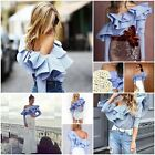 Sexy Women Ruffles Off Shoulder Top Long Sleeve Blouse blue&white Striped Shirt