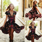 Women Summer Vintage Boho Long Maxi Party Beach Dress Floral Sundress NEW Ladies