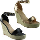 Womens Ladies Ankle Strap Espadrilles Platform Shoes Wedge Sandals Flats Size