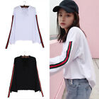 Women Fashion V Neck Lace Up Stripe T Shirt Blouse Casual Long Sleeve White Tops