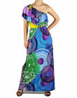 Colorful Paisley Tie Dye One Shoulder Bohemian Long Ruffle Maxi Dress XS-3XL