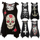 Summer Women Skull Printed Loose Lace Patchwork Casual Sleeveless Tops Shirt