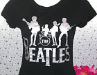 BEATLES T Shirt Black +Silver Logo Jr's John Paul George Ringo Rock NEW Large L