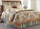 Chaps CORAL SANDS Reversible Comforter Set - Paisley & Stripes Ivory Orange Blue