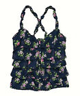 Hollister Womens Navy Blue Tiered Floral Top