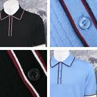 Art Gallery Retro Mod 3 Button Short Sleeve Ribbed Knit Tipped Polo Shirt