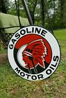 DOUBLE 2 SIDED GASOLINE MOTOR OILS RED INDIAN CHIEF 30