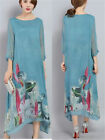 Vintage Womens Silk 3/4 Sleeve Floral Loose Casual Summer Tunic Maxi Long Dress