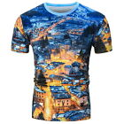 Men 3D Print Summer Short Sleeve Multicolor Shirt  Round Tops T-Shirt