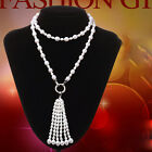 AA8-9+5-6mm white drip  freshwater pearl necklace women gift