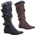 9820 Womens Fur Knee High Boots Flat Sole Round Toe Pull On Side Buckle Ladies B