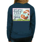 Southern Girl Prep Get Your Prep In The Game Long Sleeve T-shirt-Harbor Blue