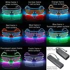 Neon El Wire LED Sound Control Light Up Shutter Shaped Glasses Eyewear Costume
