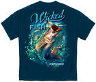 Fishing T-Shirt Wicked Fish Striped Bass With Popper Air Born Indigo Blue